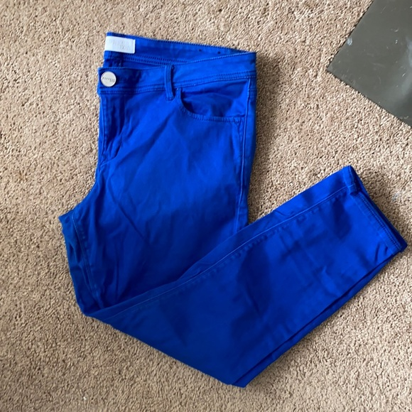 Express bright blue ankle jeans mid rise
